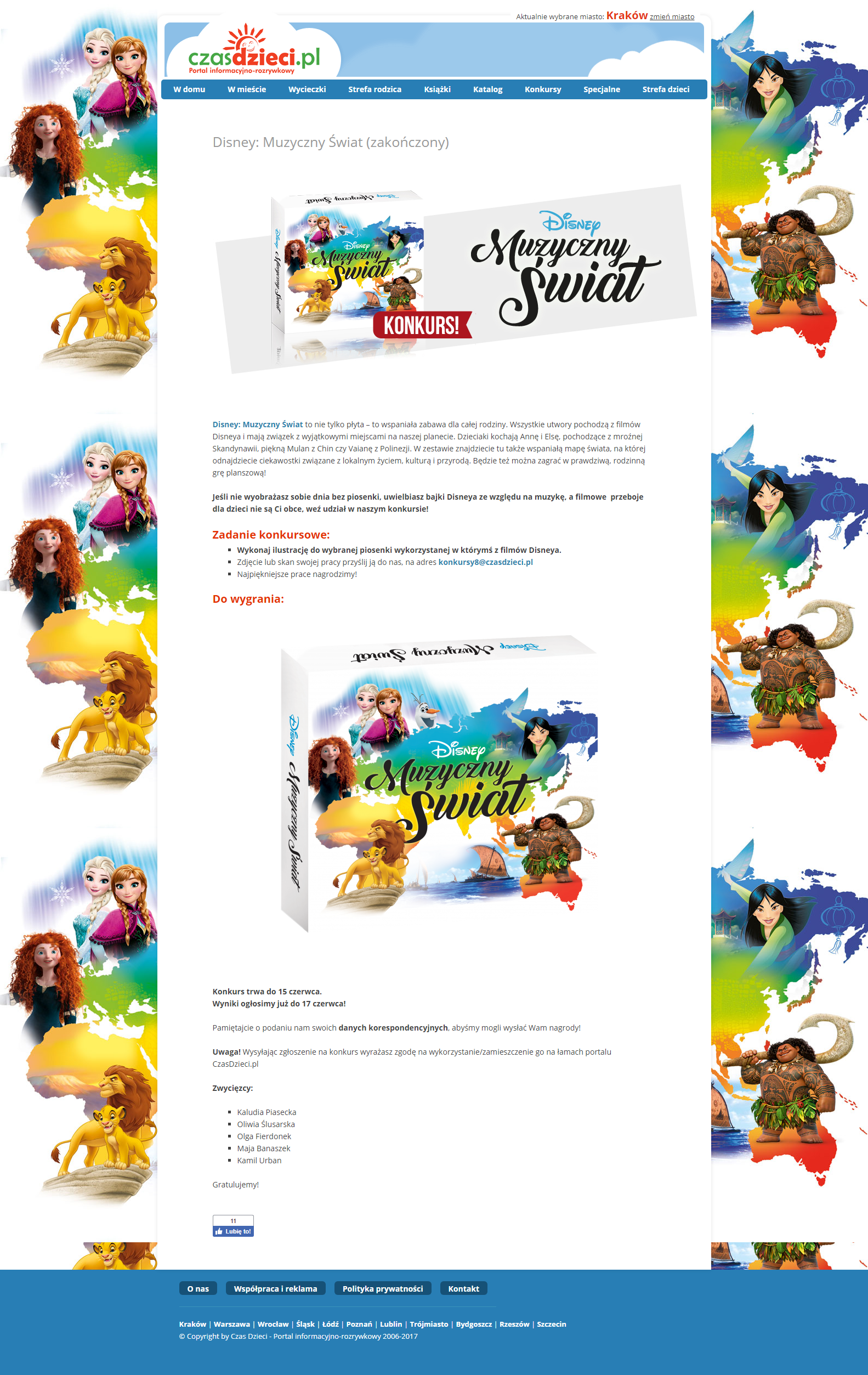 Disney Muzyczny Świat konkurs Czas Dzieci